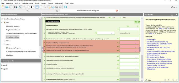 BMF EÜR-Formular Seite 1 Zeile 14-16 für Betriebseinnahmen: Umsatzsteuerpflichtige Betriebseinnahmen und umsatzsteuerfreie, nicht umsatzsteuerbare Betriebseinnahmen und Betriebseinnahmen mit Umkehrung der Umsatzsteuerschuld in der Rechnungsstellung (§ 13 b UStG)