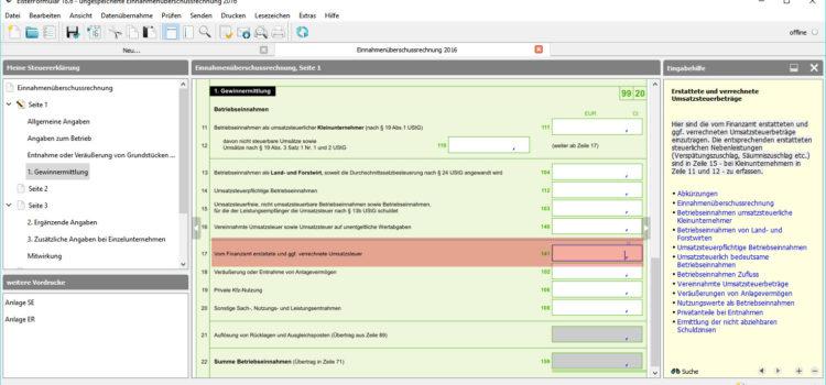 BMF EÜR Formular Seite 1 Zeile 17: Vom Finanzamt erstattete und ggf. verrechnete Umsatzsteuer