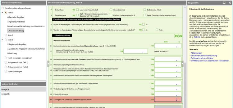 BMF EÜR Formular Seite 1 Zeile 20: Sonstige Sach-, Nutzung- und Leistungsentnahmen als Eigenbedarf des Unternehmers