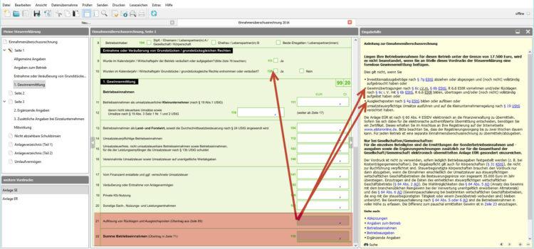 BMF EÜR Formular Seite 1 Zeile 21-22. Auflösung von Rücklagen und Ausgleichsposten sowie Summe der Betriebseinnahmen