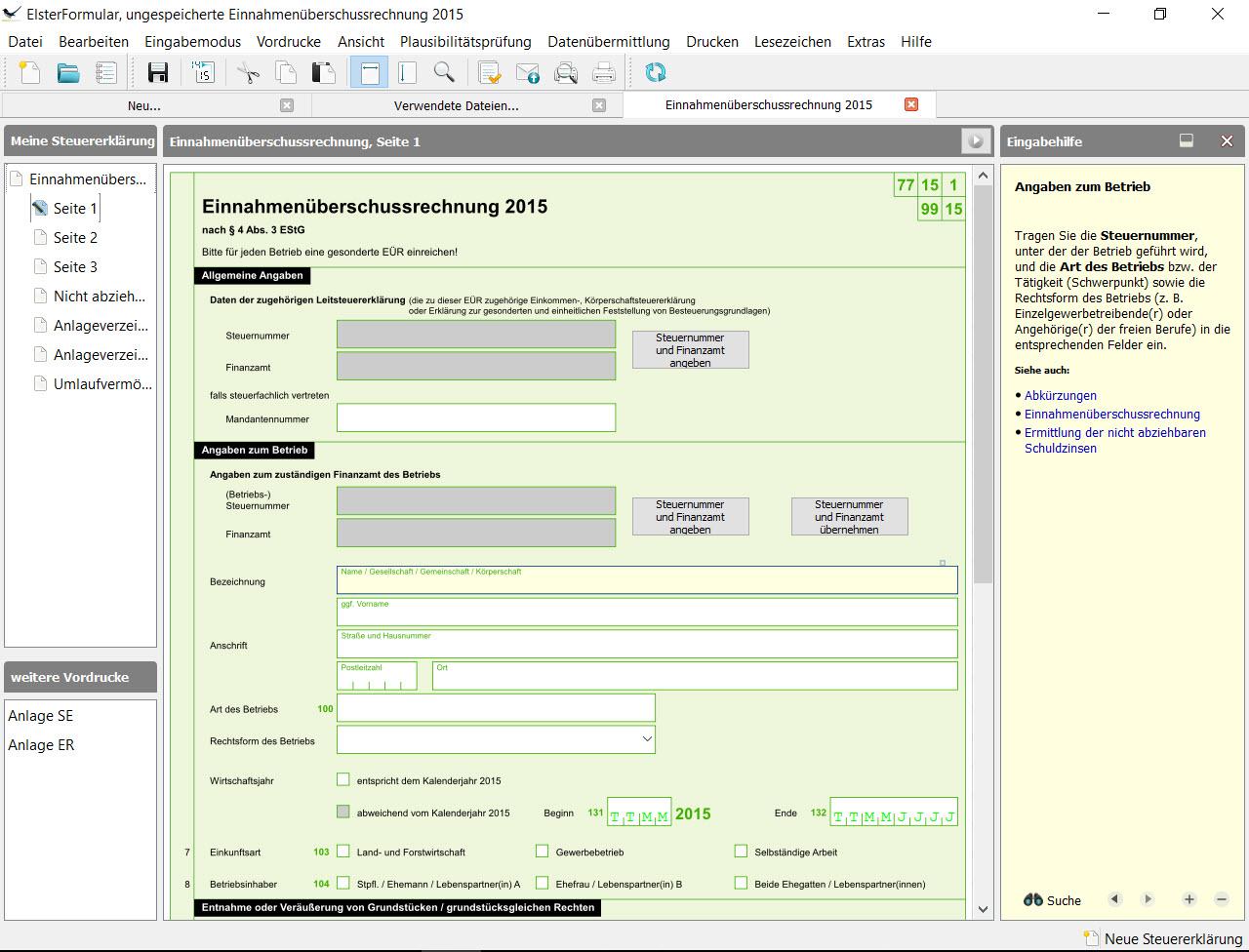 BMF EÜR-Formular Seite 1 Zeile 1-8 Personenangaben zu Betriebseinnahmen und Betriebsausgaben: Wer macht was wann wie und mit wem auf welche Art unter welcher Steuernummer?