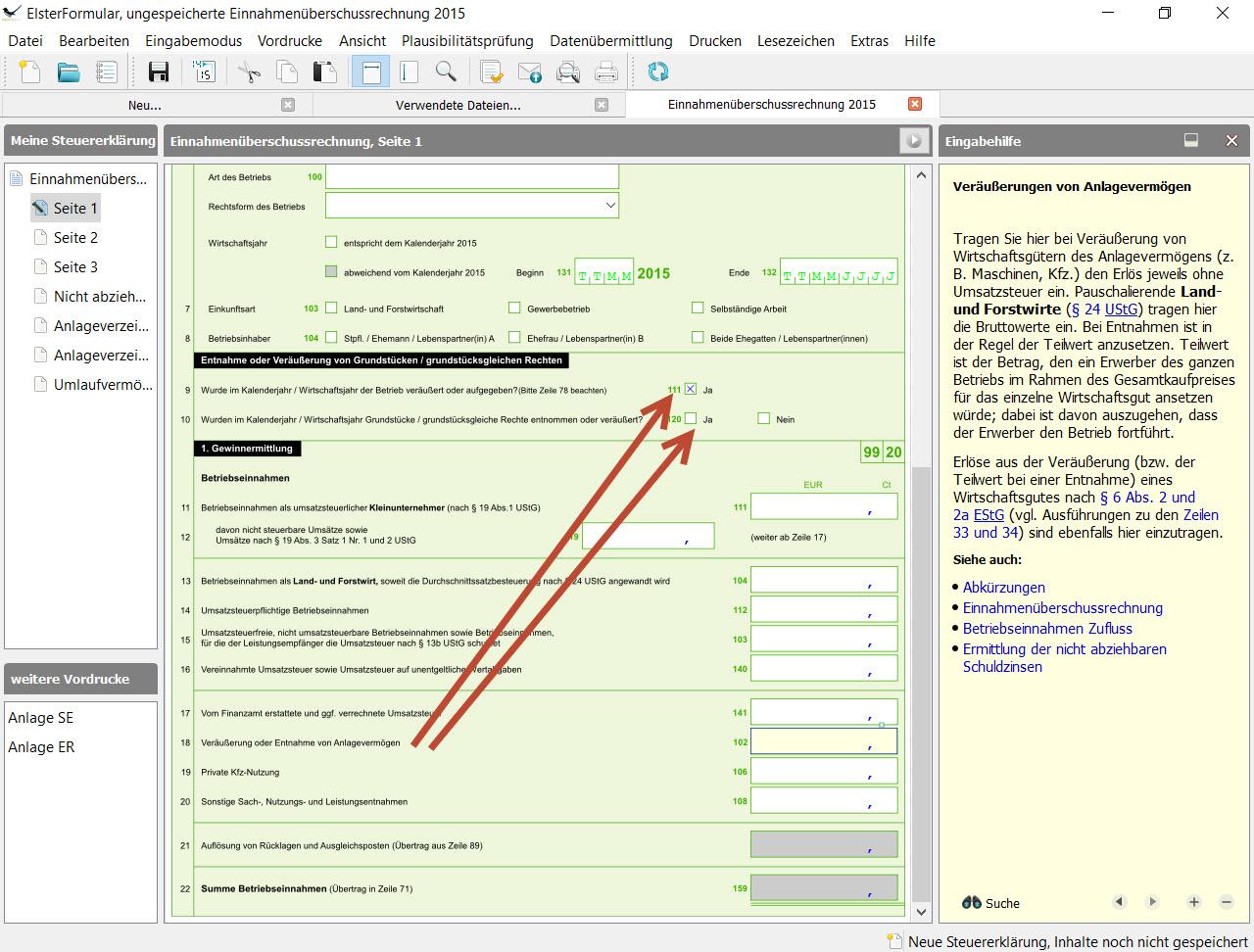 Lexware EÜR-Formular: Zeilen 9-10 Verkauf an Betriebs- und Familienfremde oder Beginn der Eigennutzung von ehemaligen Betriebsvermögen