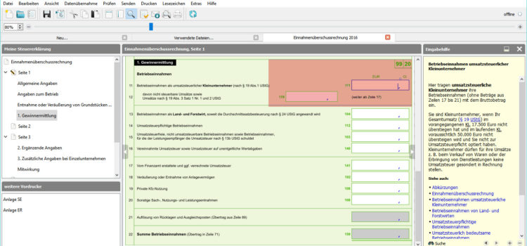 BMF EÜR-Formular Seite 1 Zeile 11-12 für Betriebseinnahmen: Umsatzsteuerlicher Kleinunternehmer (nach § 19 (1) UStG)