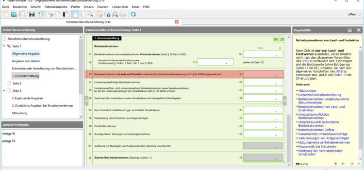 BMF EÜR-Formular Seite 1 Zeile 13: Betriebseinnahmen als Land- und Forstwirt