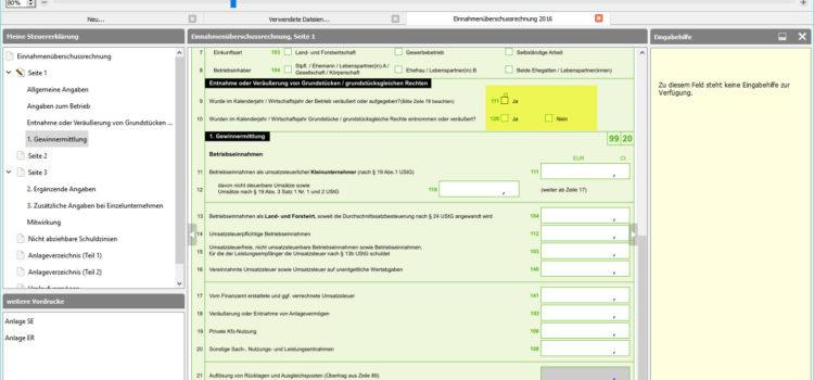 BMF EÜR-Formular Seite 1 Zeile 9-10 als Betriebseinnahme: Umwidmung von Betriebs- in Privatvermögen als Entnahme von Grundstücken oder Erbbaurechten