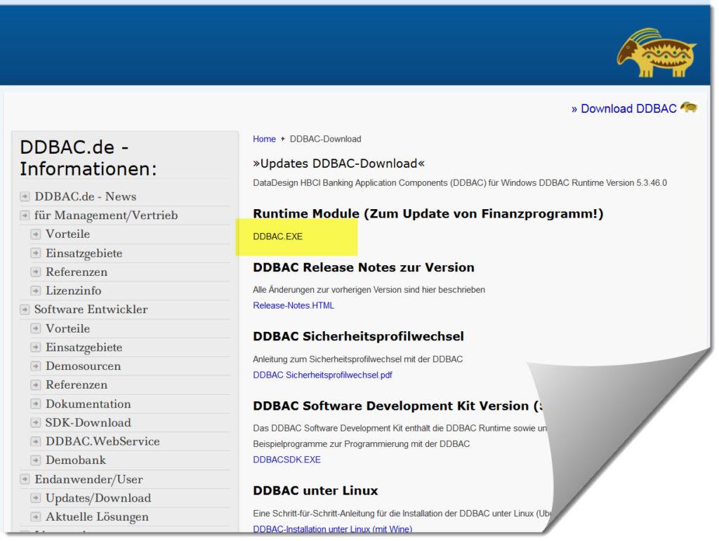 DDBAC Runtime Modul fuer Lexware® Online Banking