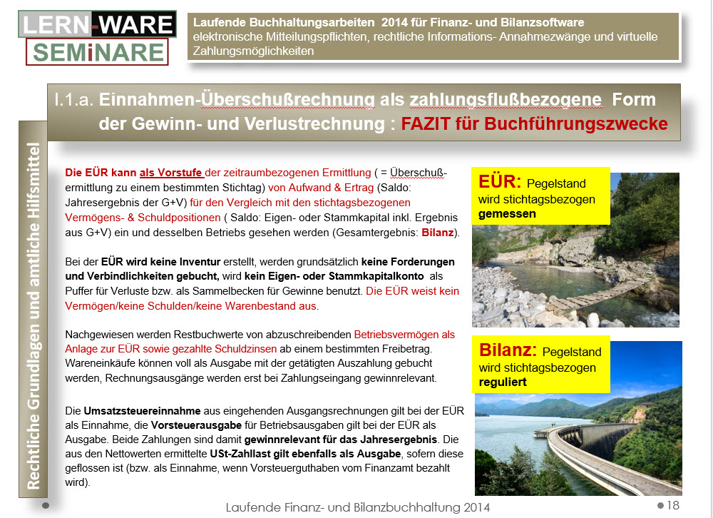 Lexware EUeR als Zahlungslflussrechnung mit Stichtagsprinzip