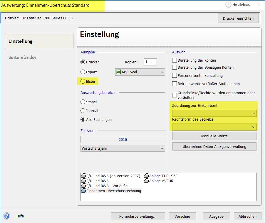 Lexware EUR Formular Ausgabe mit Eingaben für Rechtsform und Einkunftsart (gelb gefärbte Bereicht)