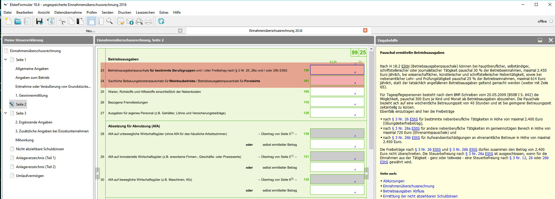 fffb5b1231d33e Seite 2 Zeile 23-24  Betriebs- und Bebauungskostenpauschale für bestimmte  Berufsgruppen Weinbaubetriebe oder Forstwirte